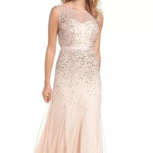 Adrianna papell nwt 2p blush beaded gown